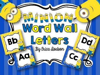 Minion Alphabet Word Wall Letters {Bright Primary Stripes}