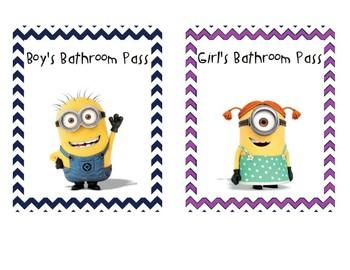 Minion Bathroom Passes