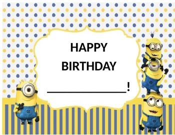 Minion Birthday Certificate