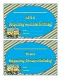 Minion Birthday Certificate