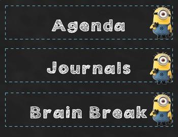 Minion Chalkboard Daily Schedule