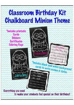 Minion Chalkboard Theme Student Birthday Kit