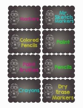 Minion Chalkboard Theme Supply Labels