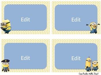 Minion Classroom Labels- Editable