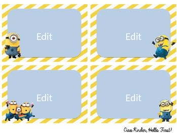 Minion Classroom Labels- Editable