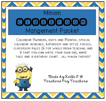 Minion Classroom Management Packet (Includes Whole Brain T