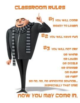Minion Classroom Rules
