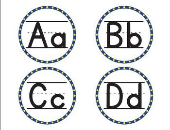 Minion Colored Word Wall Alphabet - Yellow/Blue - Bilingual/Spanish