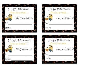 Minion Halloween Homework Passes