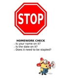 Minion Homework Check Poster