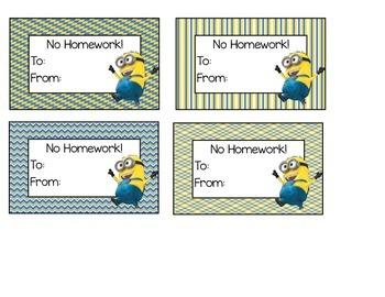 Minion Homework Passes