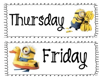 Minion 'Inspired' Classroom Days of the Week Cards