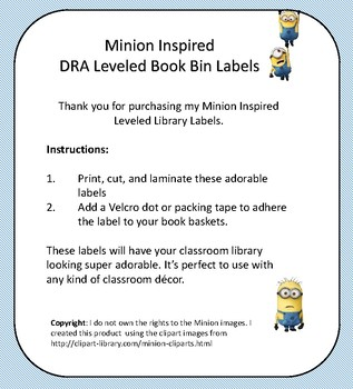 Minion Inspired DRA Leveled Book Bin Labels