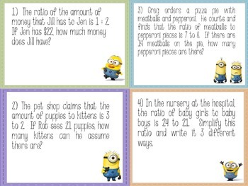 Minion Math: 6th Grade Math Ratio Stations
