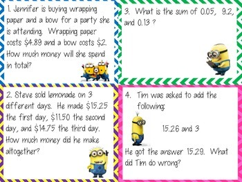Minion Math: Decimal Operations Word Problems