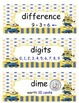 Minion Math Vocabulary Words