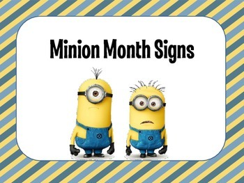 Minion Month and Day Calendar Signs
