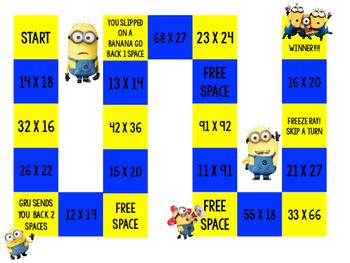 Minion Multiplication Board Game