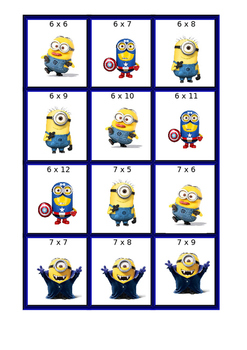 Minion Multiplication Cards