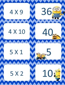 Minion Multiplication facts (4 - 7)  Concentration & War Card Games
