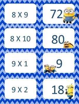 Minion Multiplication facts (8-12)  Concentration & War Card Games