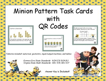 Minion Pattern Task Cards with QR Codes
