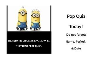 Minion Pop Quiz Announcement Slide