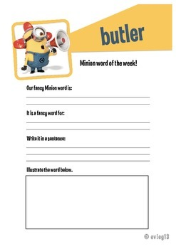 Minion Preview Word of the Week Vocab Activity