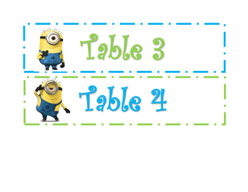 Minion Table Numbers