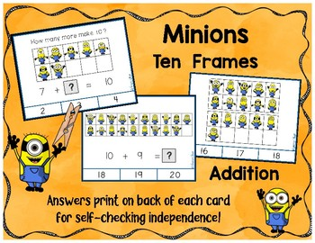 Minion Ten Frame Counting and Addition Clip Cards