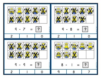 Minion Ten Frame Subtraction Clip Cards