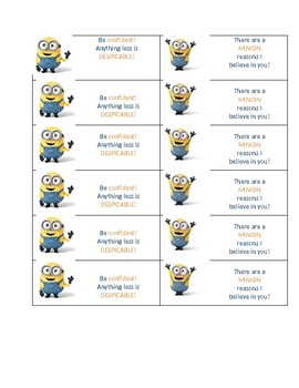 Minion Test Treat Printable