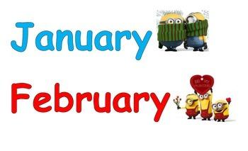 Minion Themed Calendar Headings