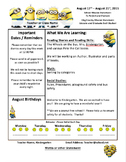Minion Themed Classroom Newsletter