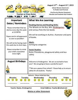 Minion Themed Classroom Newsletter