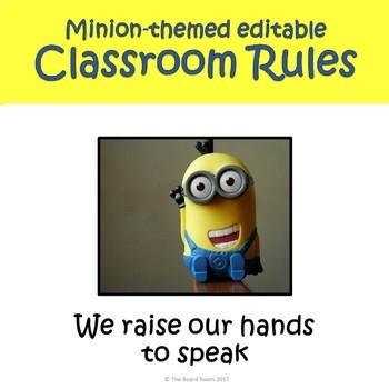 Minion Themed Editable Classroom Rules