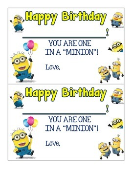 Minion Themed Happy Birthday Certificates