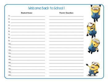 Minion Themed Parent Sign-in Form