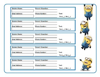 Minion Themed Parent or Guardian Contact Info Collection Form