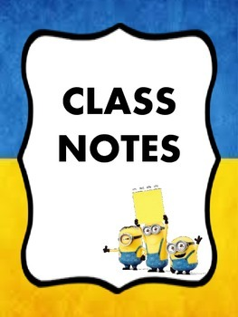 Minion Themed Student Binder Dividers