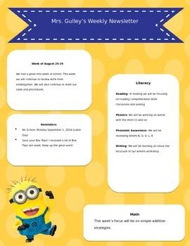 Minion Weekly Newsletter and Behavior Calendar