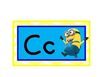 Minion Word Wall Headers Alphabet Cards