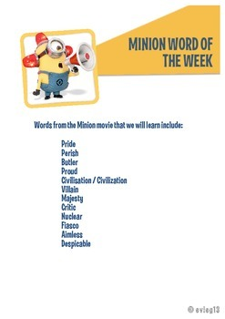 Minion Word of the Week Vocab Activity