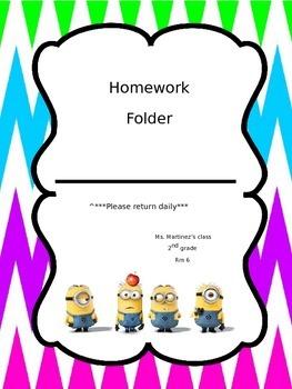 Minion and chevron homework folder
