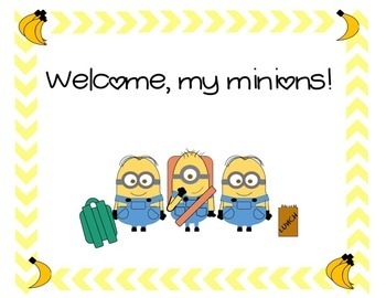 Minion back-to-school classroom sign