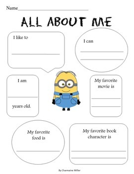 Minion back-to-school worksheet packet