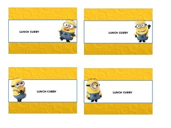 Minions desk,  lunch and utility name plates