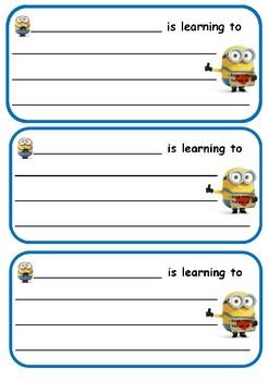 Minion learning card (Free)
