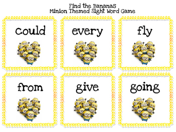 """Minion-themed Sight Word Game """"Find the Banana"""""""