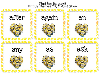 "Minion-themed Sight Word Game ""Find the Banana"""